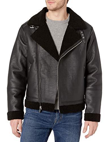 Sean John Men's Faux Shearling Motorcycle Jacket with Sherpa Trim & Asymmetrical Zipper, Black, X-Large
