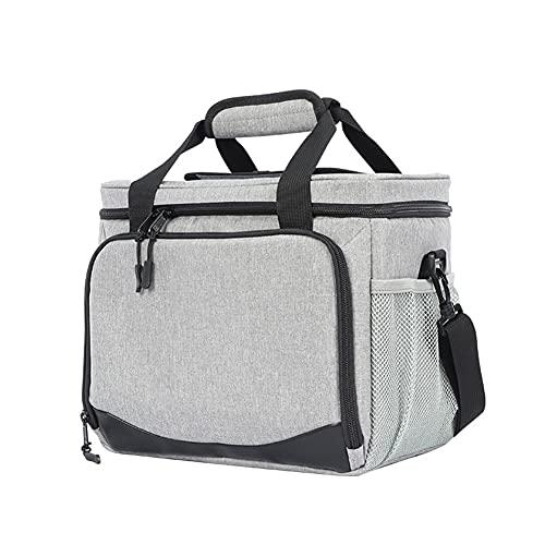 DJDEFK Bolsa térmica para el almuerzo, 16 L, aislada, para el trabajo, picnic, para el coche, refrigerador, bolsa de hombro portátil (color gris)