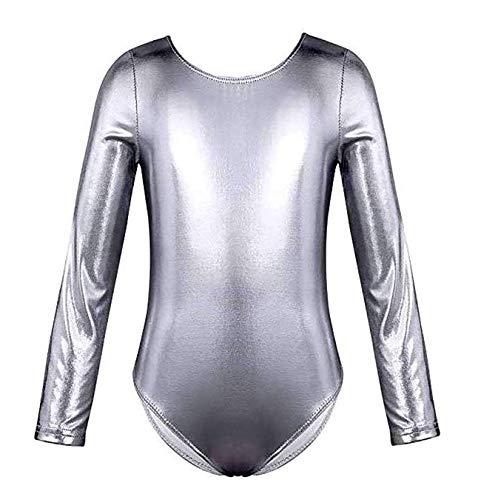 furein Maillot de Danza Ballet Gimnasia Leotardo Body Clásico Brillante Elástico para Niñas de Manga Larga Cuello Redondo (6 años, Plata)