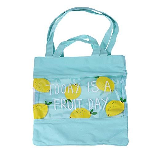 TENDYCOCO Bolso transparente de PVC Bolso de limonero con asa superior Bolso de lona Fruta Bolsa de compras Playa de moda Bolso de hombro lindo
