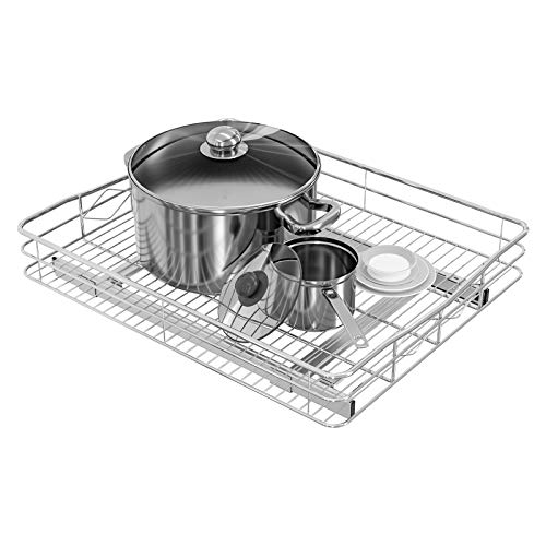"""TQVAI Slide Pull Out Under Cabinet Organizer(20""""W x 21""""D) Single Tier Roll Out Extendable Sliding Basket, Chrome Silver"""