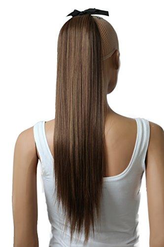 PRETTYSHOP 60cm Haarteil Zopf Pferdeschwanz Haarverlängerung Glatt Braun Mix HC6