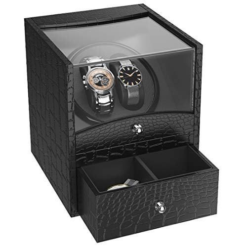 CRITIRON Watch Winder 1 + 1, Caja Giratora Automáticos, Caja para Relojes, Piel de Cocodrilo, con 2 Vitrinas para Relojes, Negro