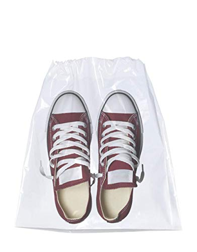APQ Pack of 50 Travel Shoes Bags 10' x 14' Clear Plastic Drawstring Bags 10x14 Thickness 2 mil Double Cotton Drawstrings Travel Bags Shoes Storage Pouches Plastic Bags for Packing and Storing