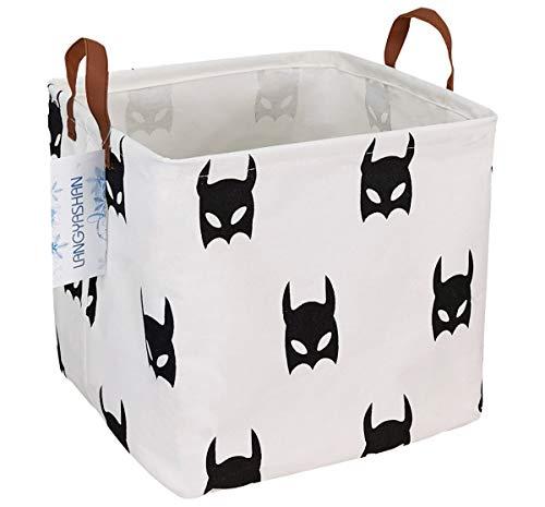 LANGYASHAN Square Storage Baskets Waterproof Canvas Children Laundry Nursery Hamper for Shelves Gift Baskets Toy Organizer Room Decor(Bat)