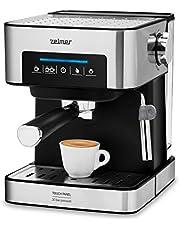 Zelmer ZCM7255 - Ekspres do kawy kolbowy, 20 barów, 850W, Cyfrowy panel dotykowy, Zintegrowany automatyczny spieniacz do mleka, Podwójne parzenia kawy, Funkcja podgrzewania filiżanek, Czarny/Inox.