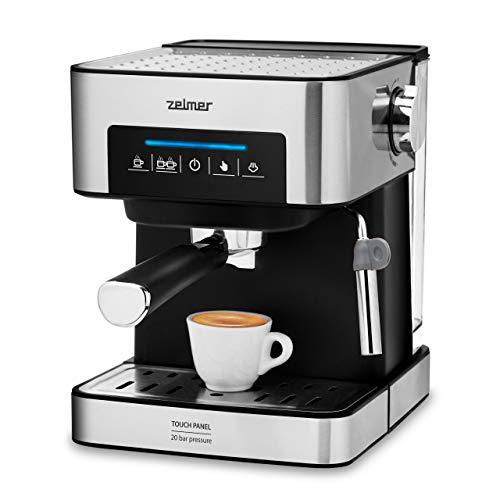 Zelmer ZCM7255 Macchina per caffè espresso con portafiltro 20 bar, pannello touch digitale, vaporizzatore, caffè macinato o a dose singola, filtro Cream Bar Cup Warming, 850 W