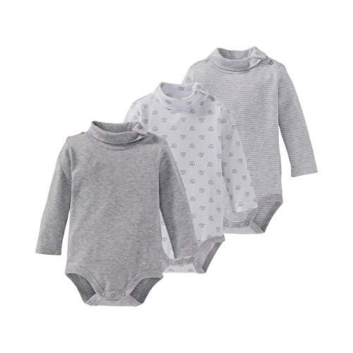 Bornino Langarm-Bodys mit Rollkragen (3er-Pack) - Baby-Unterwäsche - mit Druckknöpfen im Schulter- & Schrittbereich - weiß/grau