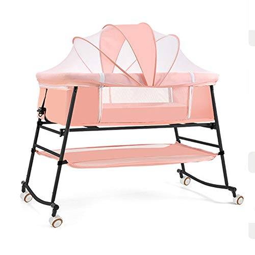 Zatnec Minicuna Plegable Cuna De Colecho para Recién Nacidos,Colchón Desmontable Y Lavable, Malla Transpirable (Color : Pink)