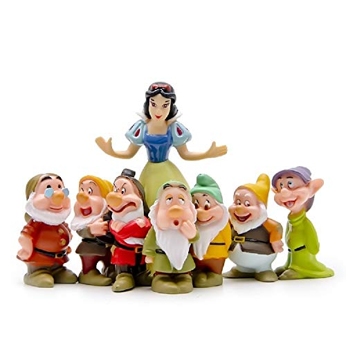 PAPWOO Terrarium Figurines Mini Fairy Garden Miniature Snow White and 7 Dwarfs Statue Bonsai DIY Pedestrian Home Decoration Outdoor Small Ornaments Children Gifts