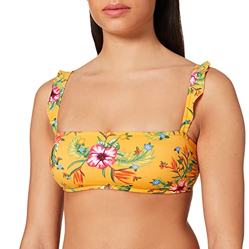 Bikini amarillo flores con adornos. bikinis online baratos.