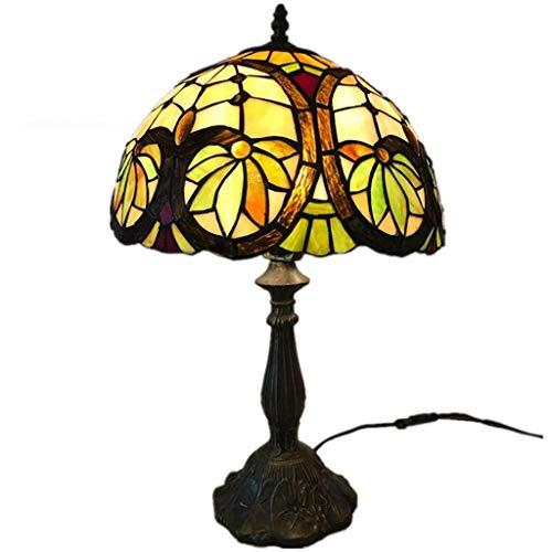 Tiffany Style - Interruptor De Botón De Lámpara De Mesa LED De 12 Pulgadas Para El Dormitorio De Estudio Decoración Del Hogar Lámpara De Escritorio Vintage Salón Yang1mn