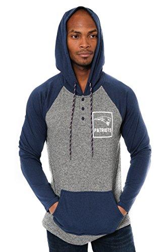 Ultra Game NFL New England Patriots Mens Fleece Hoodie Pullover Sweatshirt Henley, Team Color, Large (New England Patriots Hoody)