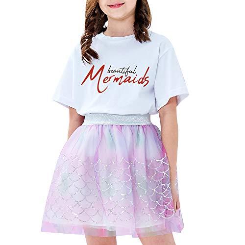 Sunny Fashion Chicas Falda Escamas de Sirena Lentejuelas Espumoso Tutu Bailando 9-10 años