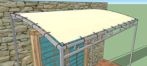 TUTTOPERGOLE Tetto di Ricambio in PVC da 650 gr/m2 per Gazebo/Pergola in Ferro (3 x 2,5 m, Avorio)