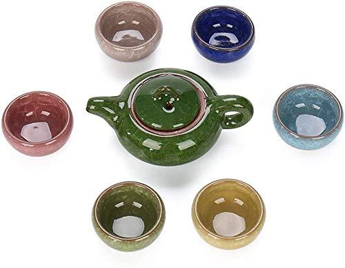 Colorful Ice Crack Glaze Porcelain Tea Set - Chinese Kung Fu Tea Service Utensil with Multi Color 6 Tea Cups(1.7Oz) and Teapot(6.8Oz)