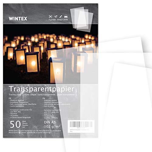 WINTEX 50 Blatt Transparentpapier DIN A3, 102 g/qm - weißes Bastelpapier, bedruckbar