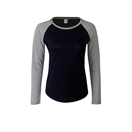 Skinnifit - Camiseta de manga larga estilo béisbol para mujer (Mediana (M)/Marino/Gris)