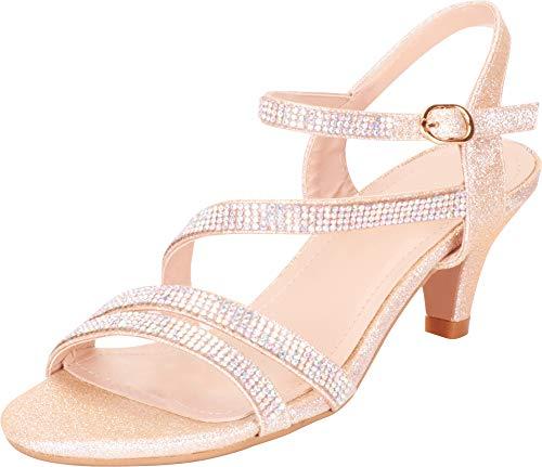 Cambridge Select Women's Strappy Crystal Rhinestone Mid Heel Dress Sandal,8 B(M) US,Champagne Glitter