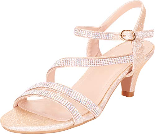 Cambridge Select Women's Strappy Crystal Rhinestone Mid Heel Dress Sandal,8 B(M) US,Champagne Glitter