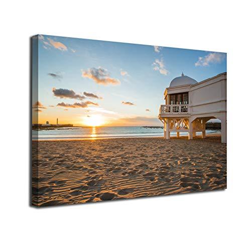 Desconocido Cuadro Lienzo Canvas Playa de la Caleta en Cadiz Andalucia Balneario Puesta de Sol – Varias Medidas - Lienzo de Tela Bastidor de Madera de 3 cm - Impresion en Alta resolucion (50, 33)