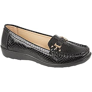 Womens Flats Snakeskin Print Deck Boat Loafers Moccasins Driving Shoes Size (UK 6, Black)