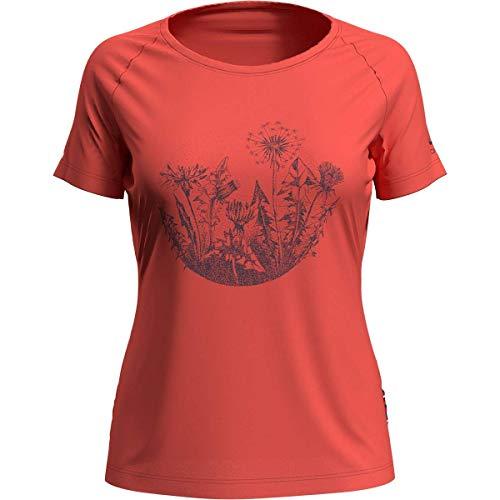 Odlo Crew Neck Concord T-Shirt Femme, Corail Vif – imprimé Floral Rond SS20, L