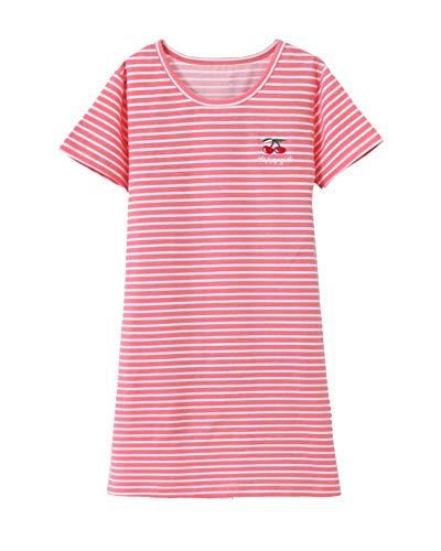Nachthemd Mädchen Prinzessin Kurzarm Rundkragen Streifen Kinder Schlafanzüge Für 3-12 Jahre Rot Das Wassermelone 130