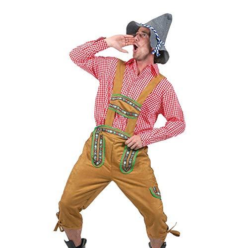 F.lashes 3 Stück Bayerischer Oktoberfest Kleidung Kniebund Halloween Nachtclub Bar Kostüme Cosplay Overall Shorts mit Trägern Hut Kariertes Hemd Lätzchen Short