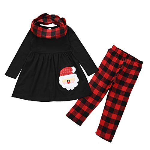 Toddler Kids Baby Girl Christmas Outfits Long Sleeve Santa Claus Print Top Dress Pants Xmas Clothes Set 12M-7Y (Plaid, 5-6x)