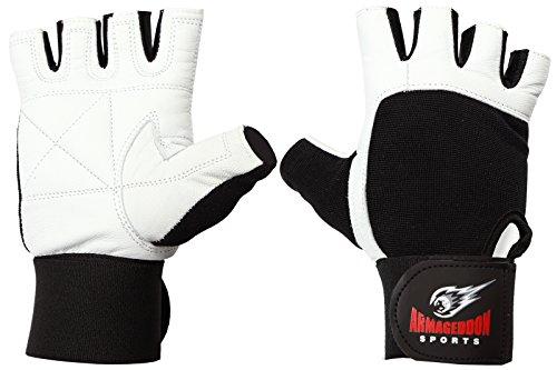 Armageddon Sports Guantes de fitness de piel auténtica con muñequeras perfectas para...