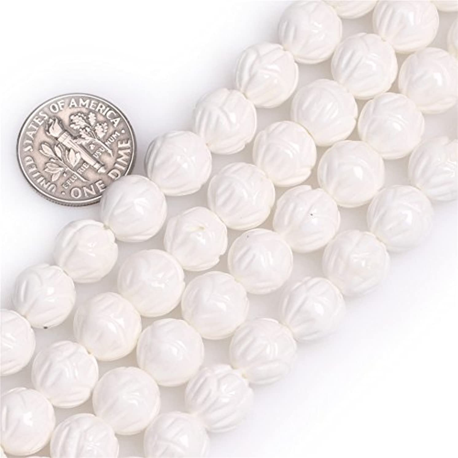 White Shell Beads for Jewelry Making Natural Gemstone Semi Precious 10mm Flower Shape 15