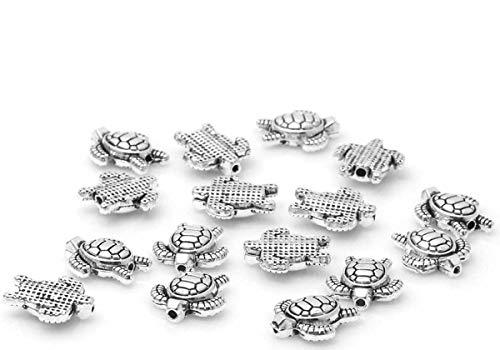 Sadingo Armband Metallperlen Schildkröte 10 Stück 13mm, Zwischenperlen Armband, Zwischenelemente, Schmuckperlen