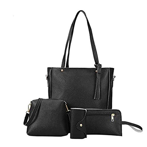maimai Black quilted 4-piece bag set,Ladies handbag gift set,PU leather bags women,Totes satchels crossbody shoulder bags and purse clutch,for Women Girls(4PCS Set) (Negro)