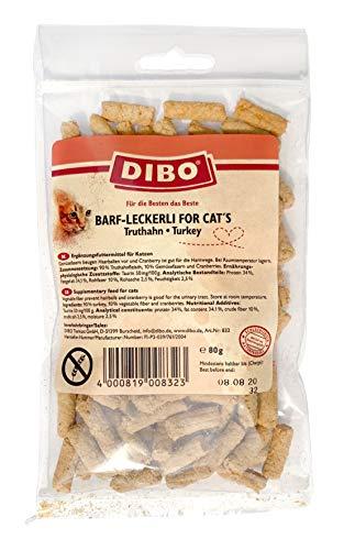 DIBO Barf-Leckerli for Cat´s 80g (Truthahn), Leckerli für Katzen, Gesunder Snack für Katzen, Single Protein Katzenleckerlies