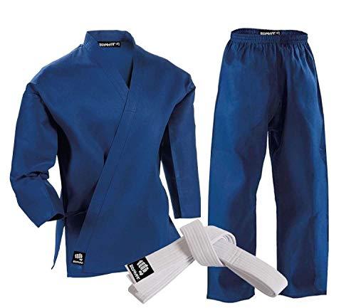 MAddog Zephyr Martial Arts Karate Gi Student Uniform with Belt - Blue - 4