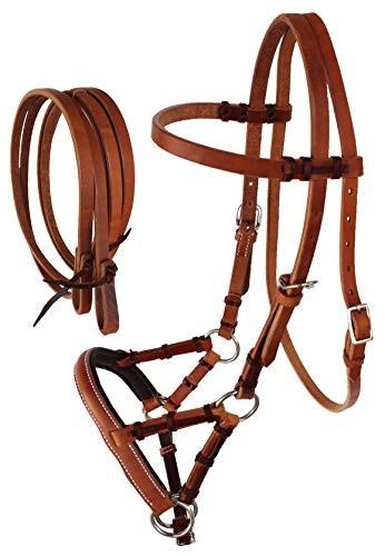 CHALLENGER Amish USA Horse Western Leather Tack Bitless Sidepull Bridle Rein Tan 77RT04TN-C