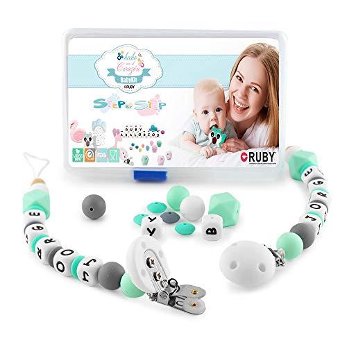 RUBY - Set de 2 Chupeteros para Montar, Collar Lactancia para Bebé de Silicona y Pinza de Acero Inoxidable cubierta de Silicona, Kit Cesta de Regalo para Recién Nacido (Turquesa Pastel)