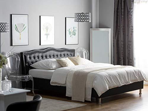Designer Barock Leder Bett Unicorn Einhorn SCHWARZ mit Lattenrahmen Lattenrost mit Bettkasten Stauraum Polsterbett traumhaftes Luxus Lederbett modern Jugendbett günstig (160x200 cm)