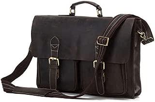 Shoulder Bag Men's Shoulder Bag Vintage Leather Men's Bag Shoulder Bag Simple Atmosphere Thick Leather Briefcase Mens Shoulder Bag Casual Crossbody Bag (Color : Bronze)