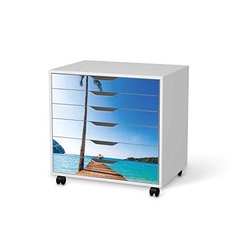 creatisto Möbel-Folie passend für IKEA Alex Rollcontainer 6 Schubladen I Möbelfolie - Möbel-Tattoo Sticker Aufkleber I Deko Ideen Wohnung für Esszimmer und Wohnzimmer - Design: Caribbean