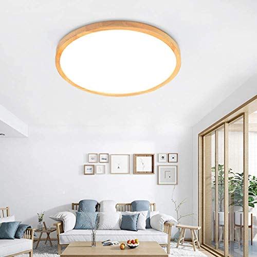 Lámpara de techo LED redonda de techo de dormitorio regulable Lámpara de techo de roble con anillo Lámpara de techo ultrafina de 7cm con control remoto Lámpara de dormitorio de decoración acrílica