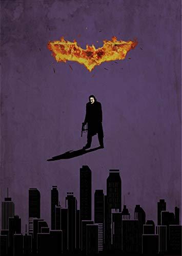 Batman The Dark Knight Minimalist Poster Superhero Alternative Print A Christopher Nolan Movie DC Comics The Joker Illustration Cinema Home Decor Artwork Wall Art Hanging Cool Gift