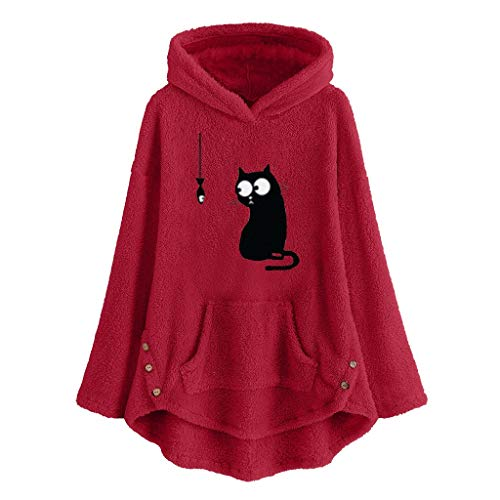 Kolila Damen Kapuzenpullover Fleece Hoodie Cat Embroidery Plus Size Warm Hooded Sweatshirts Tops Blouse Jumper