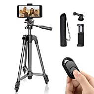 Polarduck Phone Tripod Stand Camera Mount: 51-Inch 130cm Lightweight Travel Tripod for iPhone with R...