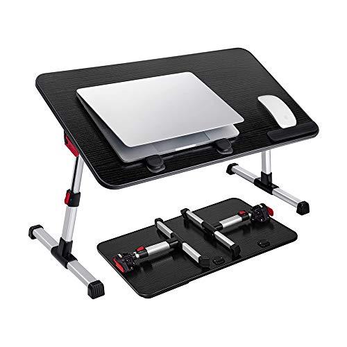 MAGO Verstellbarer Laptop-Ständer, Laptop-Bett-Tablett, Tragbarer Schoß-Schreibtisch Mit Klappbaren Beinen, Notebook Stehend, Frühstücks-Schreibtisch Für Sofa Couch Boden, Schwarz, Große Größe