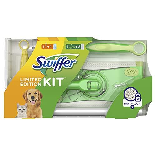 Swiffer Kit con 1 Scopa + 8 Panni per Pavimenti e 1 Piumino + 1 Ricambio, Ottimale per Peli di Animali