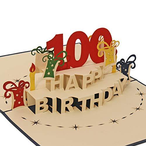 Favour Pop Up Grusskarte - 100. Geburtstag. Die perfekte Glückwunschkarte zum runden Geburtstag, auch für Gutschein oder Geldgeschenk. TA100B