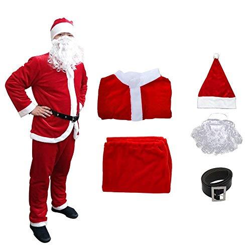 Udyr Christmas Santa Claus Suit, Adult Men's Santa Costume with Beard (red), XXLarge