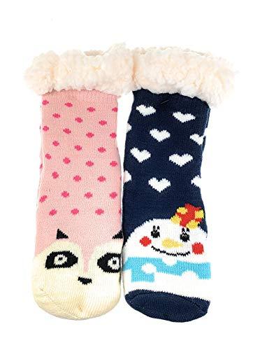2 Paar Mädchen Hütten Socken Kinder Home Socks Teddyfutter Kuschelsocken Lammfellimitat ABS-Sohle Farbe GR 32-35, Größe 32-35
